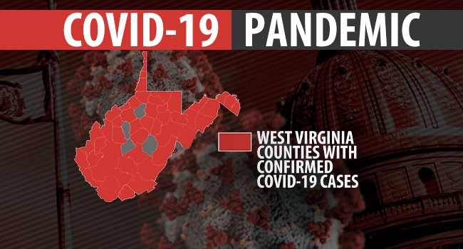 Photo of the state of West Virginia outline with counties shaded red where confirmed cases of COVID-19 have been identified.  Counties without diagnoses are colored in grey.