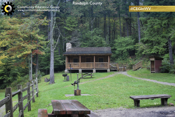 A log cabin in the woods in Randolph County, West Virginia