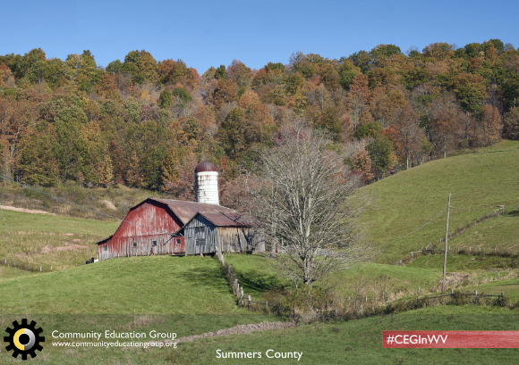 A red barn in Summers County, West Virginia