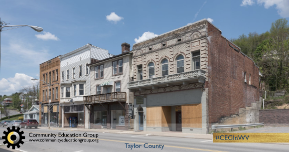 Boarded up buildings in Taylor County, West Virginia