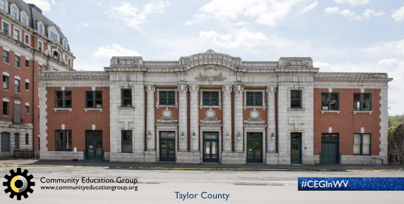 The Taylor County Courthouse in Taylor County, West Virginia