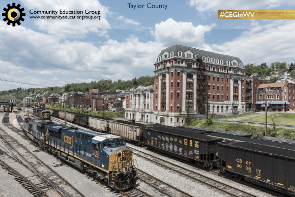 Coal trains going by a train depot in Taylor County, West Virginia