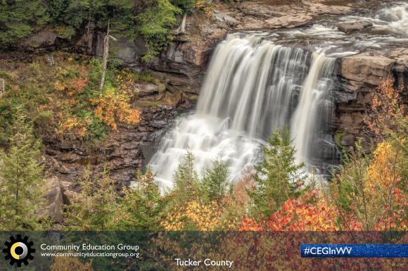 A waterfall in the Autumn in Tucker County, West Virginia