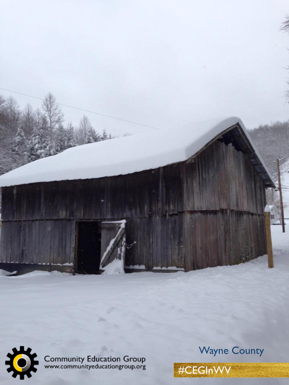 An old barn in the snow in Wayne County, West Virginia