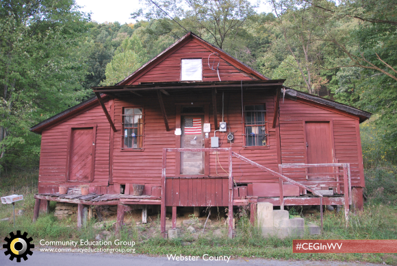 A red general store in Webster County, West Virginia