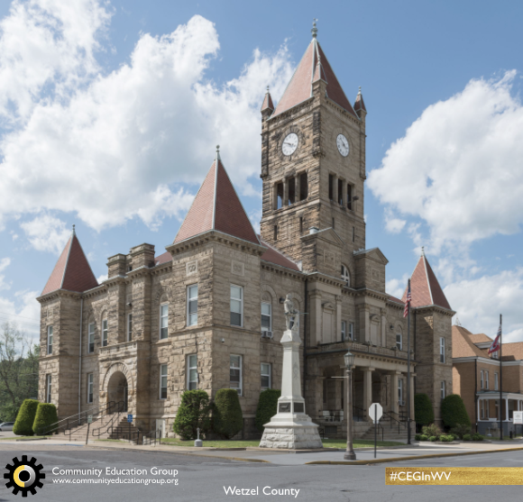 A large, Gothic-style building in Wetzel County, West Virginia,