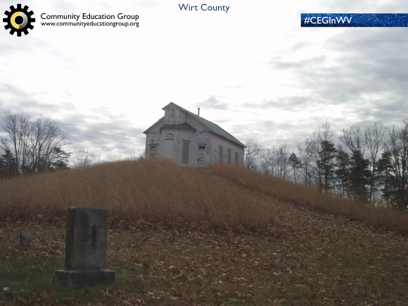 An abandoned church and cemetery in the Fall in Wirt County, West Virginia