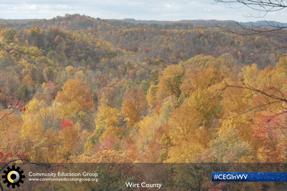Rolling mountains in the Fall in Wirt County, West Virginia