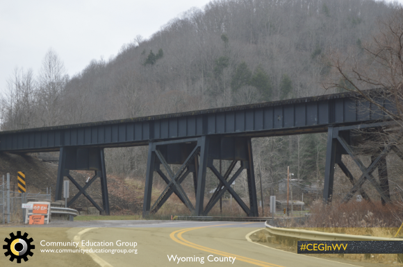 A train trestle in Wyoming County, West Virginia