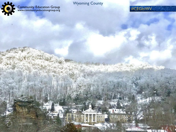 A small town in the snowy winter landscape in Wyoming County, West Virginia