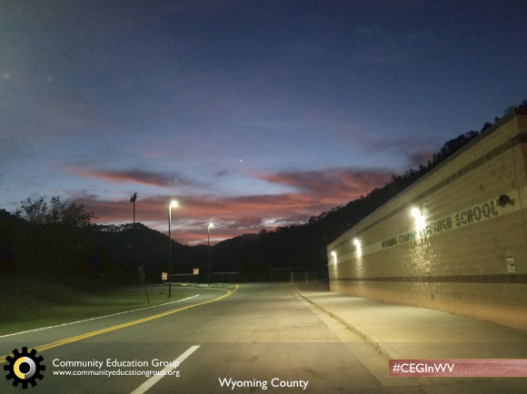 A high school at dusk in Wyoming County, West Virginia